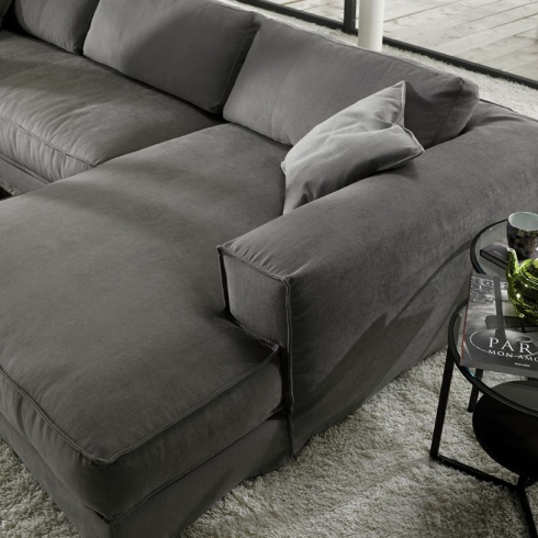 Grey Fabric Corner Sofa   Modern Italian
